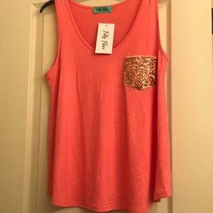 Tank top with sequined pocket